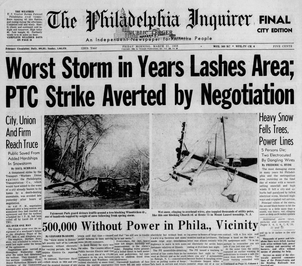 "The ""Philly Inquirer"" headline on March 21, 1958 regarding the blizzard which became known as the ""Equinox Storm"""
