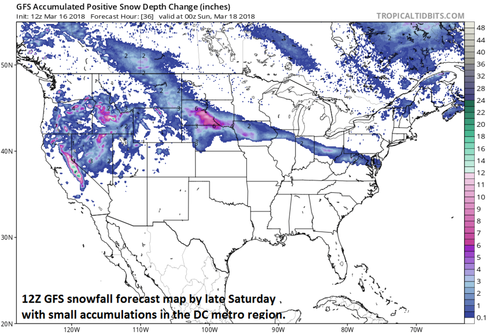 12Z GFS snowfall depth forecast map by Saturday evening from weekend system (does not include next week's storm threat); map courtesy NOAA/EMC, tropicaltidbits.com