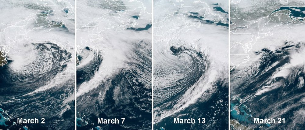 Satellite images of four nor'easters during the month of March and this has led to the second snowiest March ever for Philly (courtesy NOAA)