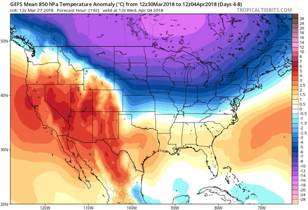 12Z GEFS 850 mb temperature anomalies averaged out over the 5-day period from March 30th to April 4th (days 4-8); map courtesy NOAA/EMC, tropicaltidbits.com