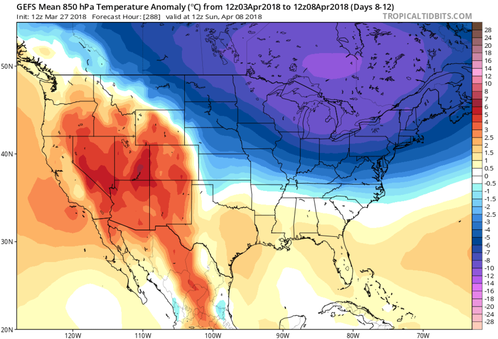 12Z GEFS 850 mb temperature anomalies averaged out over the 5-day period from April 3rd to April 8th (days 8-12); map courtesy NOAA/EMC, tropicaltidbits.com