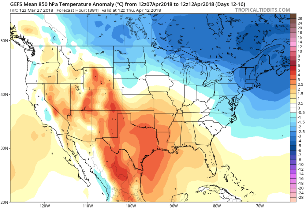 12Z GEFS 850 mb temperature anomalies averaged out over the 5-day period from April 7th to April 12th (days 12-16); map courtesy NOAA/EMC, tropicaltidbits.com