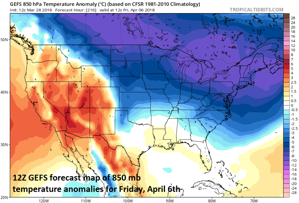 12Z GEFS forecast map of 850 mb temperature anomalies for Friday, April 6th; map courtesy NOAA/EMC, tropicaltidbits.com