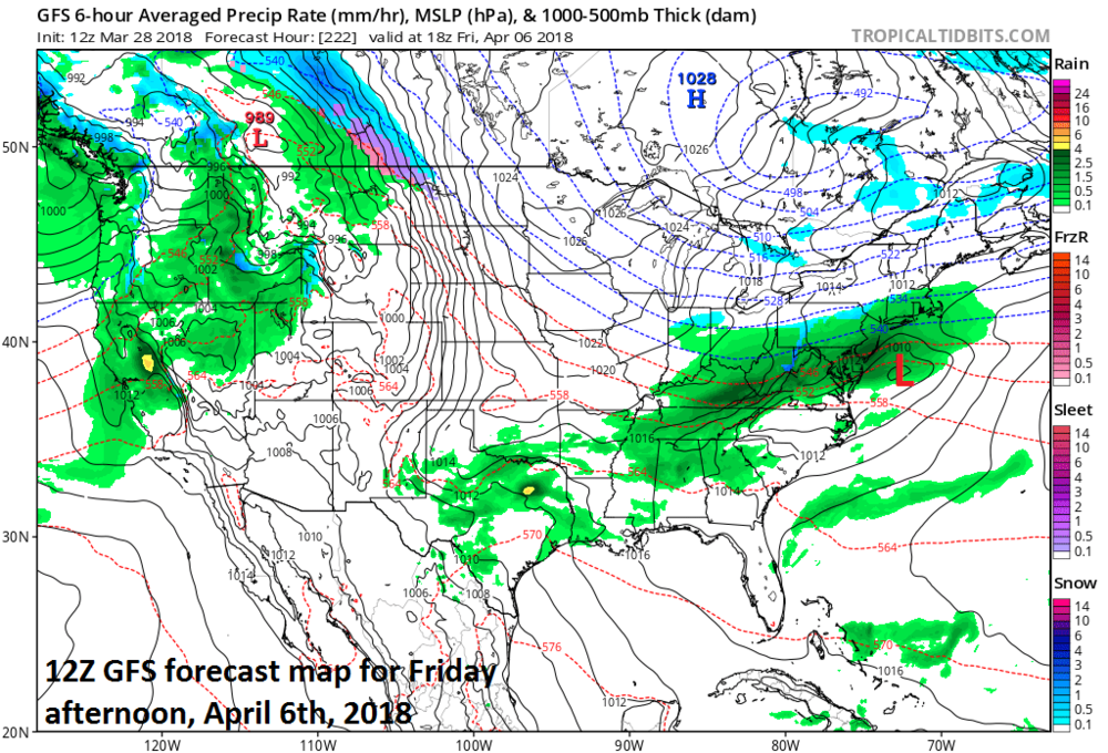 12Z GFS surface forecast map for Friday, April 6th with low pressure situated off the Mid-Atlantic coastline and a close call between rain and snow in the Mid-Atlantic region; map courtesy NOAA/EMC, tropicaltidbits.com