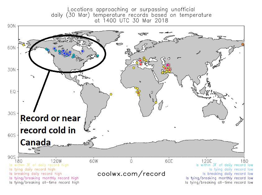 Record or near record cold across Canada early Friday (circled) and this will be a source region for cold here in the Mid-Atlantic during the first part of April; map courtesy coolwx.com