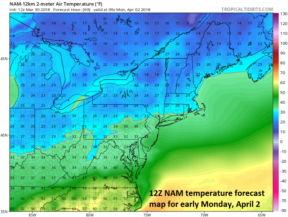 12Z NAM forecast map of 2-meter temperatures early Monday which should be supportive of snow in the DC-to-Philly-to-NYC corridor; map courtesy NOAA/EMC, tropicaltidbits.com