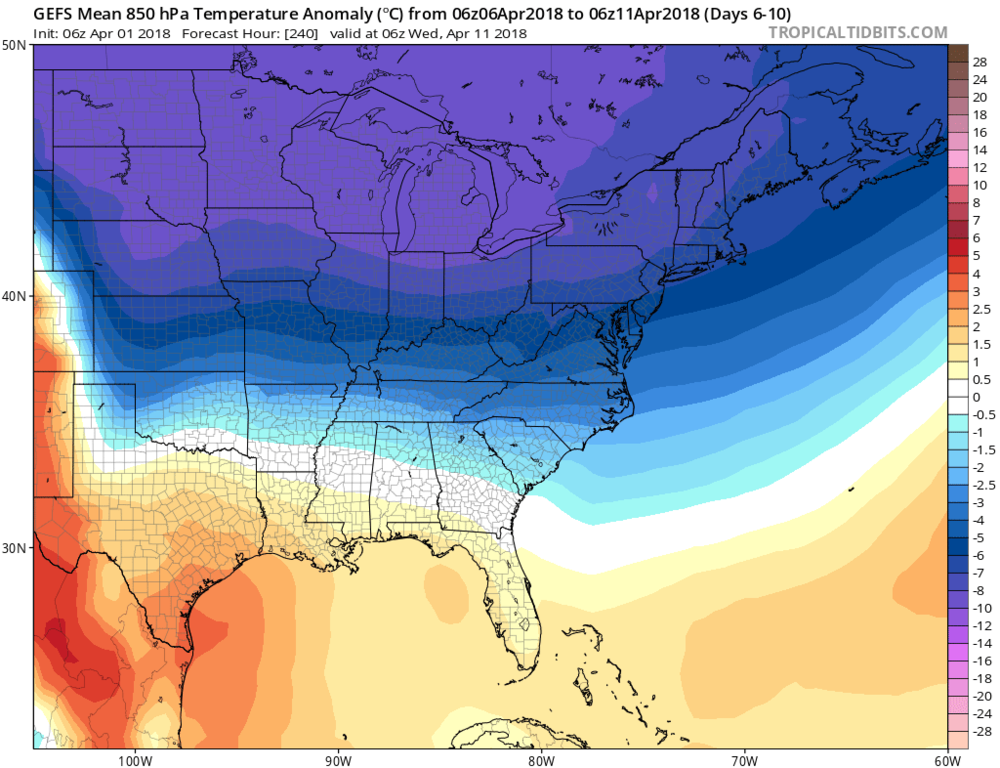 06Z GEFS forecast map of 850 temperature anomalies averaged over a 5-day period from days 6-10 (April 6-April 11); map courtesy NOAA/EMC, tropicaltidbits.com