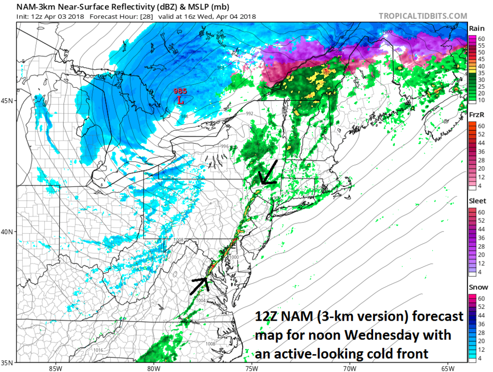 12Z NAM (3-km) forecast map for noon tomorrow (Wed. April 4th) with an active cold frontal system that could contain embedded strong thunderstorms; courtesy NOAA/EMC, tropicaltdbits.com