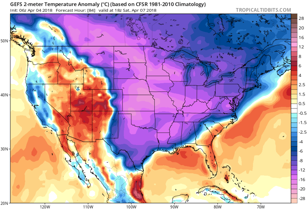Much of the eastern two-thirds of the nation will feature significantly below-normal temperatures on Saturday afternoon as depicted by the 06Z GEFS 2-meter temperature anomalies; courtesy NOAA, tropicaltidbits.com