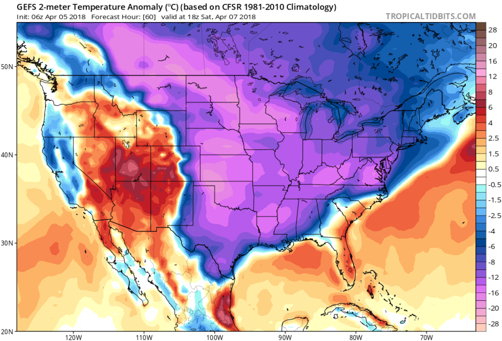 06Z GEFS forecast map of 2-meter temperature anomalies for Saturday afternoon with way below-normal conditions across a widespread part of the nation; courtesy NOAA/EMC, tropicaltidbits.com