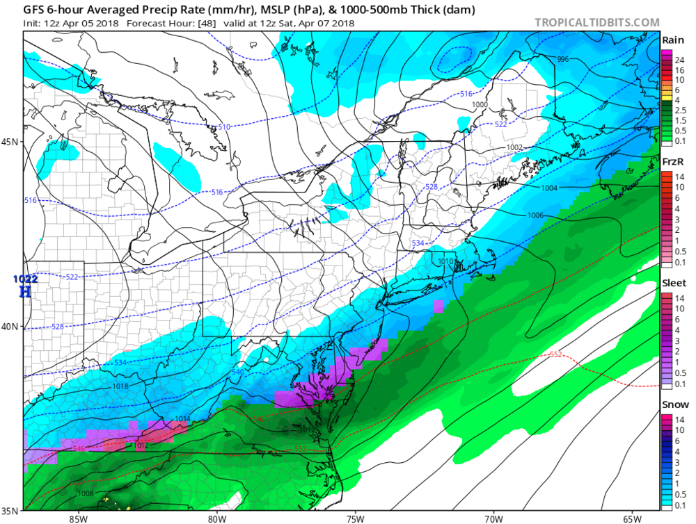 12Z GFS surface forecast map for early Saturday morning (8AM) with snow shown in blue and sleet/freezing rain in pink.purple; map courtesy NOAA/EMC, tropicaltidbits.com