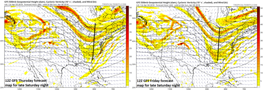 The trend over the past 24 hours (left, 12Z Thursday run;right, 12Z Friday run) in NOAA's GFS computer forecast model has been to slow down the eastward progression of the upper-level trough axis. If there is a bit more of this kind of trend at the 500-mb level then the system could end up having a bigger impact on the I-95 corridor. Maps courtesy NOAA/EMC, tropicaltidbits.com