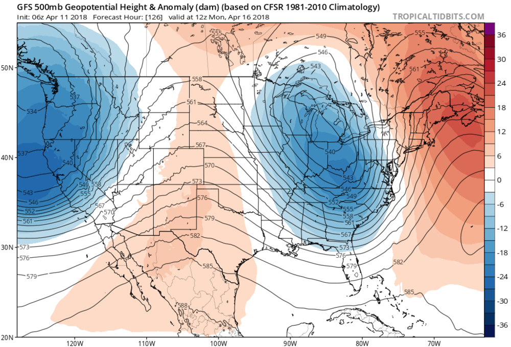 06Z GFS forecast map of 500 mb height anomalies for early Monday morning with deep upper-level trough of low pressure (blue) and an associated strong surface cold front likely contributing to a heavy rain event here in the Mid-Atlantic region on Sunday night and Monday that could include strong-to-severe thunderstorms; map courtesy NOAA/EMC, tropicaltidbits.com