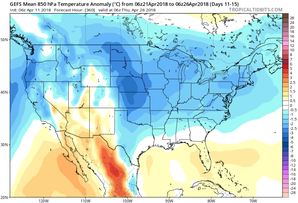 06Z GEFS forecast map of 850 mb temperature anomalies averaged over days 11-15 (April 21-26) with much of the eastern two-thirds of the nation back to below-normal conditions; map courtesy NOA/EMC, tropicaltidbits.com