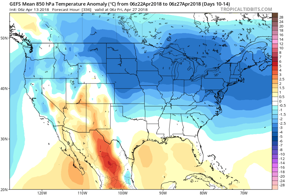 06Z GEFS forecast of 850 temperature anomalies averaged over a 5-day period (days 10-14, April 22-April 27) with colder-than-normal (blue) throughout the Mid-Atlantic region and Northeast US; map courtesy NOAA/EMC, tropicaltidbits.com