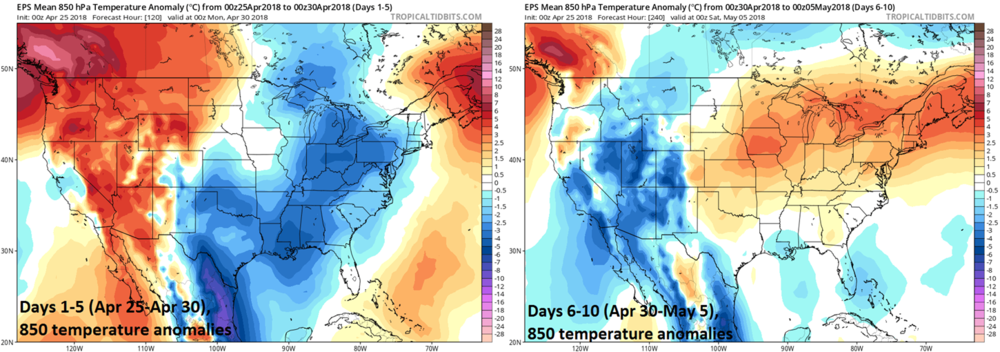 00Z Euro ensemble 5-day average of 850 mb temperature anomalies for days 1-5 (left) and days 6-10 (right); courtesy tropicaltidbits.com, ECMWF