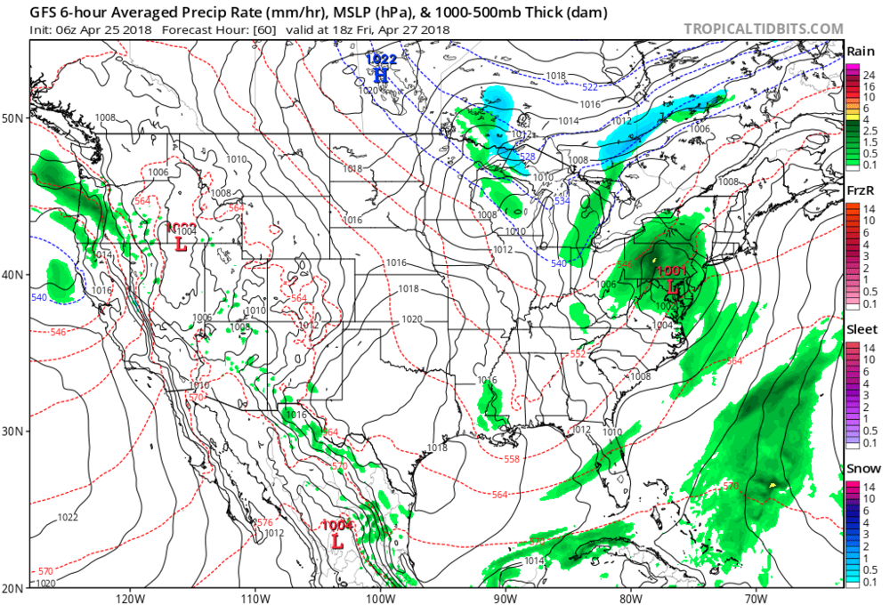 06Z GFS surface forecast map for Friday afternoon, April 27th, with another low pressure system impacting the Mid-Atlantic region; map courtesy NOAA/EMC, tropicaltidbits.com