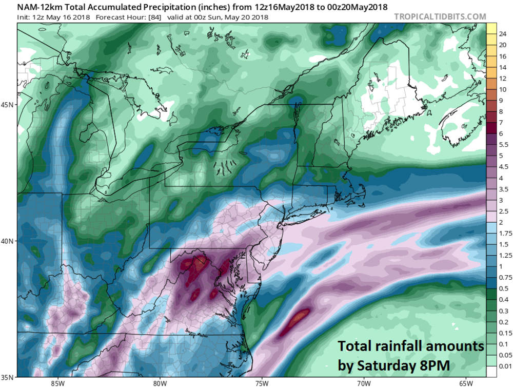 12Z NAM forecast map of total rainfall amounts between now and Saturday 8PM; courtesy NOAA/EMC, tropicaltidbits.com