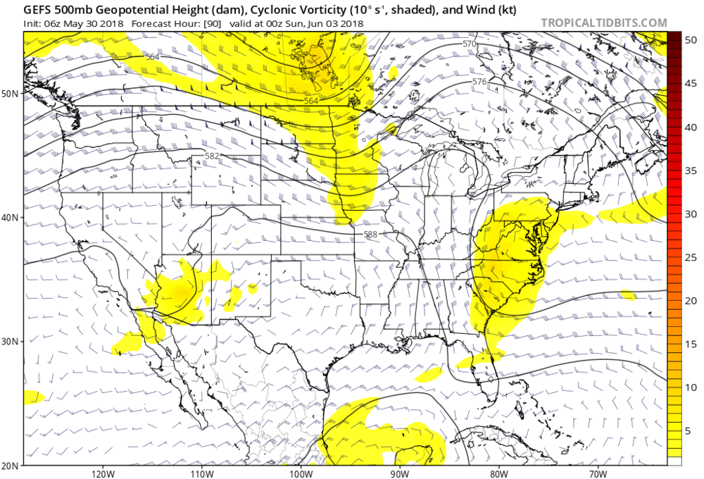 Upper-level disturbances including this one over the Mid-Atlantic region this weekend (indicated by yellow) will combine with entrenched tropical moisture to produce soaking rainfall; map courtesy NOAA, tropicaltidbits.com