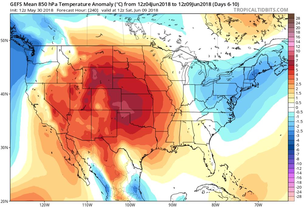 06Z GEFS 850 mb temperature anomalies for days 6-10; courtesy NOAA/EMC, tropicaltidbits.com