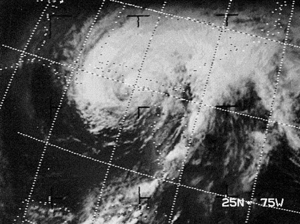 Agnes approaching Florida as a category 1 hurricane in June 1972; courtesy NOAA