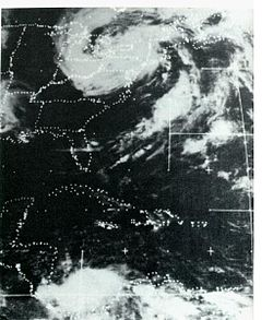 Satellite image of the remnants of Agnes once over the Northeast US; courtesy NOAA