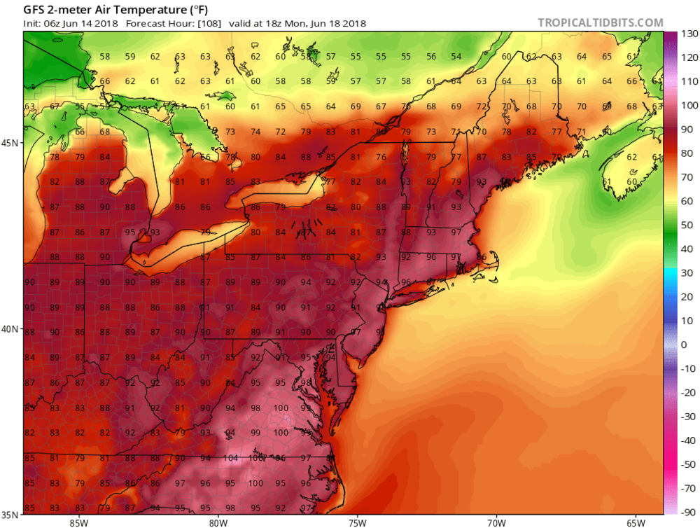 06Z GFS surface (2-m) temperature forecast map for Monday afternoon, June 18th; courtesy NOAA/EMC, tropicaltidbits.com