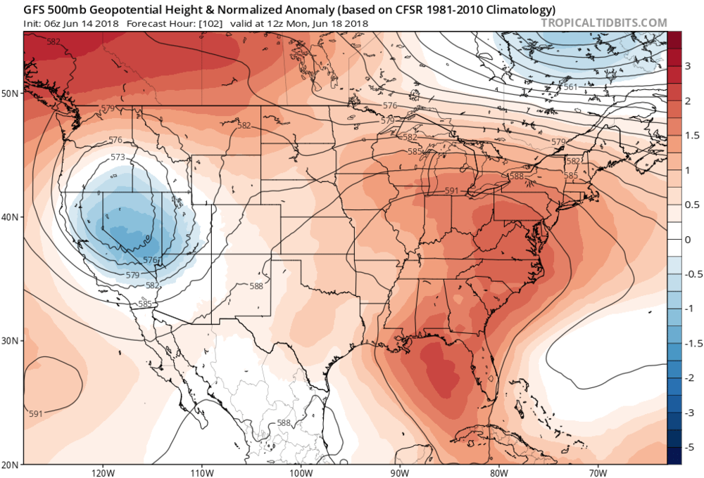 06Z GFS forecast map of 500 mb height anomalies for Monday morning, June 18th, with excessive ridging (shown in orange) over the Mid-Atlantic region; courtesy NOAA/EMC, tropicaltidbits.com
