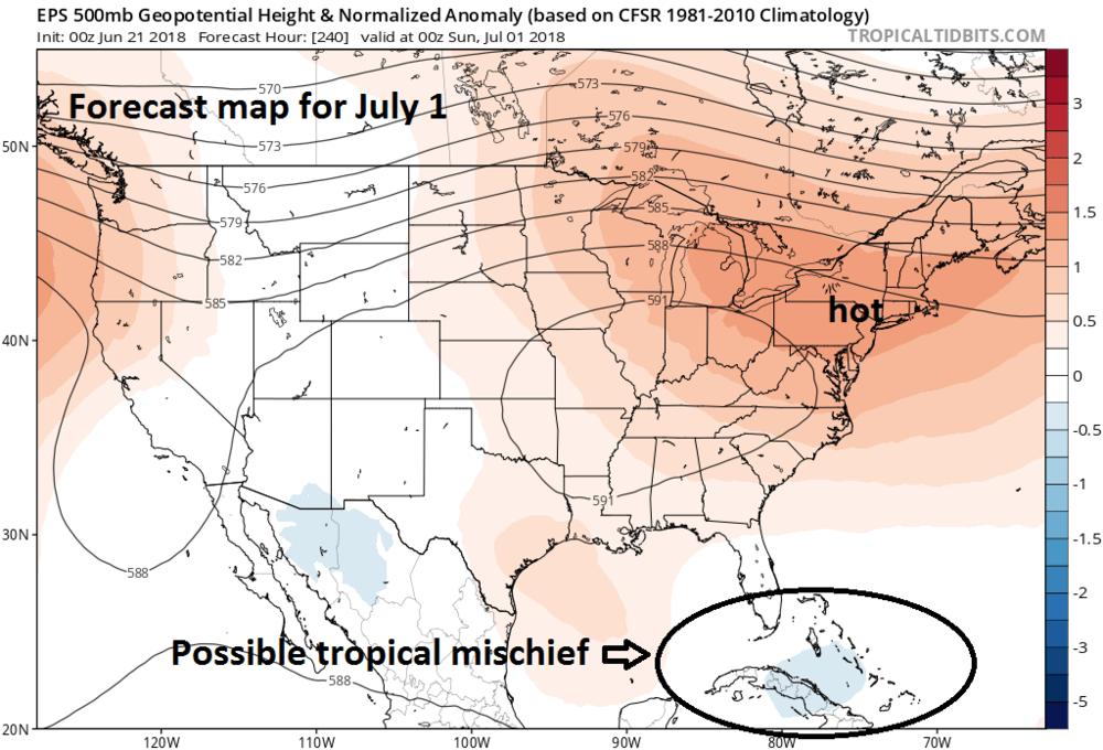 00Z Euro ensemble model forecast map of 500 mb height anomalies on July 1st; courtesy ECMWF, tropicaltidbits.com