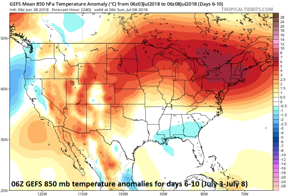 06Z GEFS forecast map of 850 mb temperature anomalies for days 6-10; courtesy NOAA, tropicaltidbits.com