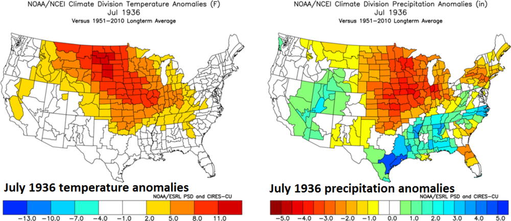 Extreme heat and drought in July 1936 was experienced in many of the same regions that experienced extreme cold earlier that same year; (July 1936 US temperature anomalies left, July 1936 US precipitation anomalies right, courtesy NOAA)