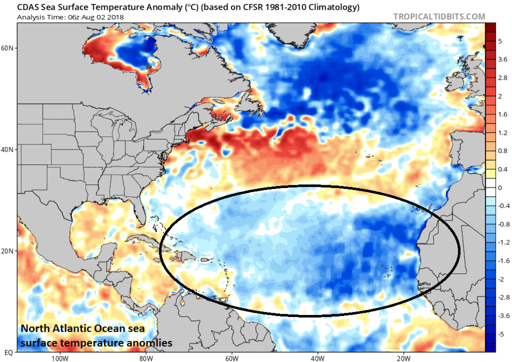 "North Atlantic sea surface temperature anomalies feature colder-than-normal conditions near Greenland/Iceland and in the ""breeding"" grounds region of the tropical Atlantic between the west coast of Africa and the Caribbean Sea; Courtesy NOAA, tropicaltidbits.com"