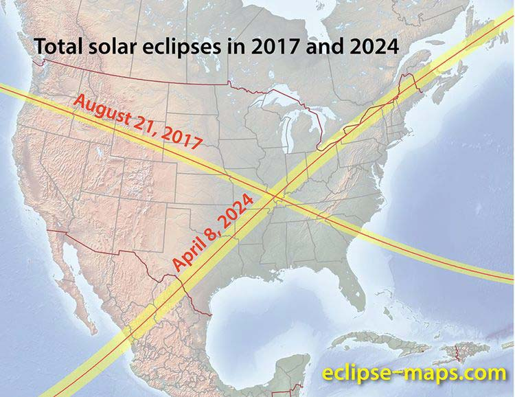 """In case you missed the last total solar eclipse, the next one in the US is actually not that far away coming on April 8th, 2024. Here are the """"totality zone"""" tracks for the 2017 and 2024 solar eclipses (map courtesy  eclipse-maps.com )"""