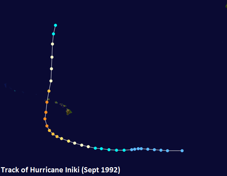 A dramatic turn to the north-northeast gave residents of Kauai little preparation time for the arrival of category 4 Hurricane Iniki in September 1992; map courtesy Wikipedia