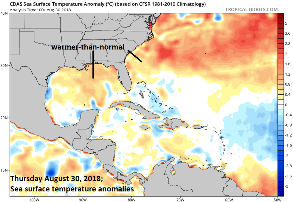 Current sea surface temperatures are generally warmer-than-normal in the southwestern Atlantic Ocean and Gulf of Mexico and this is usually a favorable factor for the formation or intensification of tropical systems; courtesy NOAA, tropicaltidbits.com