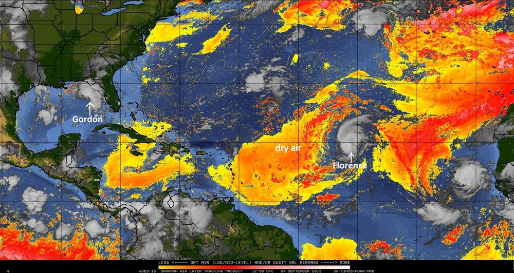 Hurricane Florence is currently in an environment with some dry air (Saharan Desert), but it has still managed to intensify into hurricane (category 1) status in recent hours; courtesy University of Wisconsin, NOAA