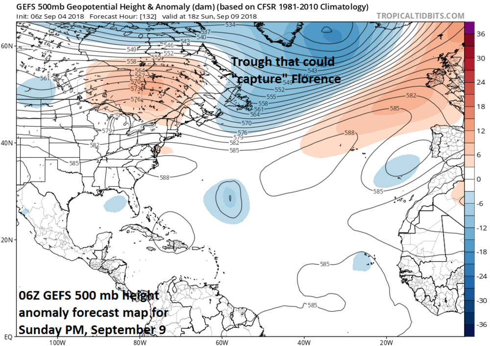 """An upper-level trough of low pressure over the north Atlantic this weekend could """"capture"""" Florence and keep it safely away from the US east coast, but there is still a chance that it is """"left behind""""; courtesy NOAA, tropicaltidbits.com"""