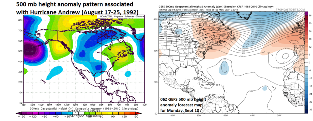 The time period surrounding the arrival of Hurricane Andrew in August 1992 featured strong high pressure ridging at 500 mb (left) over SE Canada/north Atlantic and the latest forecast for early next week has a similar look (right); courtesy NOAA, tropicaltidbits.com