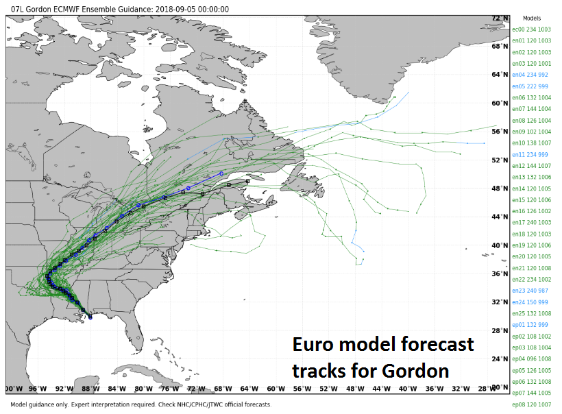 Remains of TD Gordon will head northeast this weekend and contribute to a wide swath of heavy rainfall from the south-central US to the Mid-Atlantic region; map courtesy weatherbell.com, ECMWF
