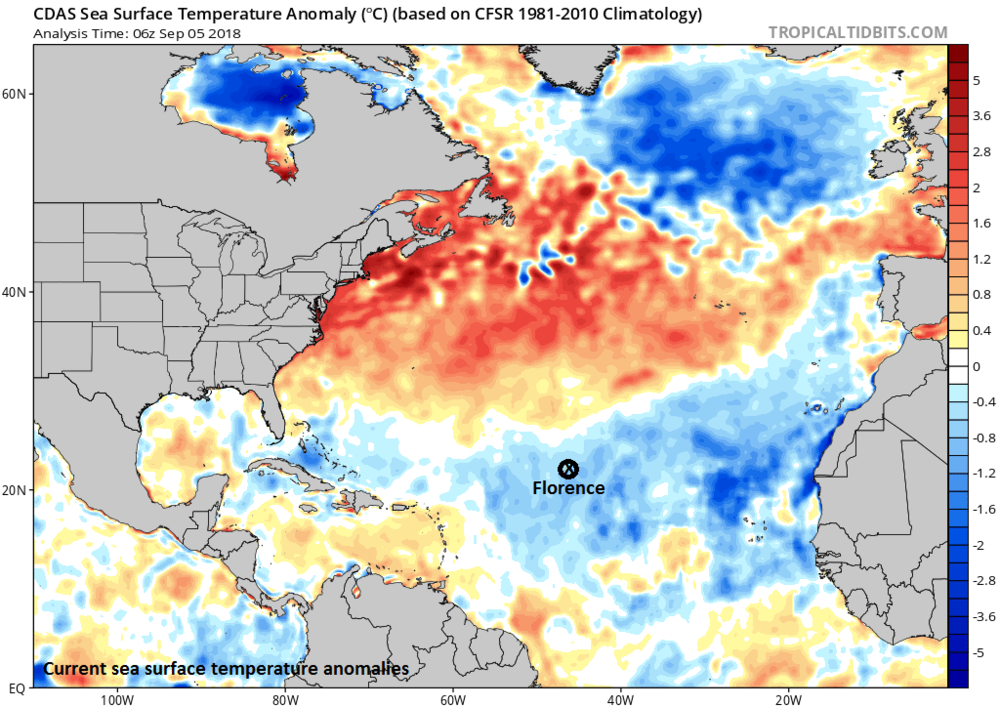 Hurricane Florence has intensified despite moving over colder-than-normal water; map courtesy NOAA, tropicaltidbits.com