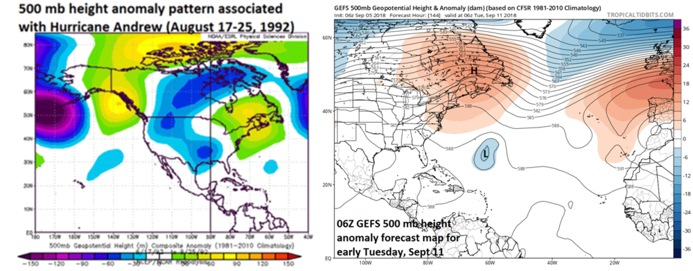 500 mb height anomaly pattern was quite similar for the arrival of Hurricane Andrew in August 1992 compared to the model predictions for early next week with very high heights over SE Canada/Northeast US/northwest Atlantic; maps courtesy NOAA, tropicaltidbits.com