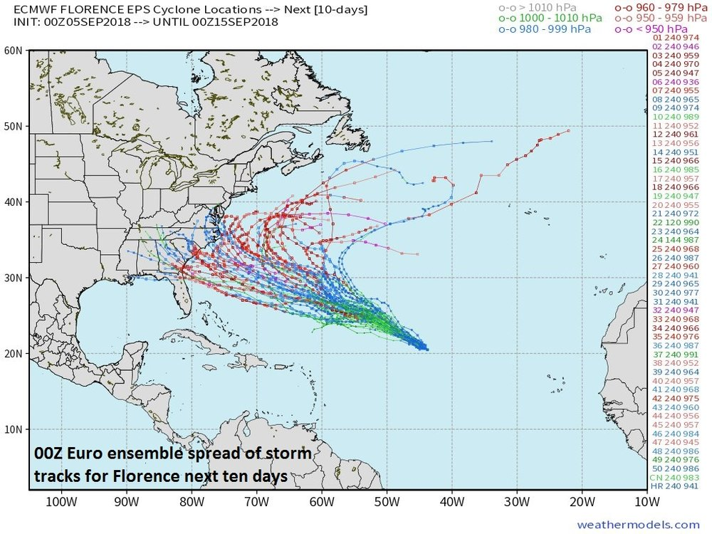 00Z Euro ensemble storm tracks for Hurricane Florence with many reaching to the US east coast; courtesy weathermodels.com (Dr. Ryan Maue), ECMWF