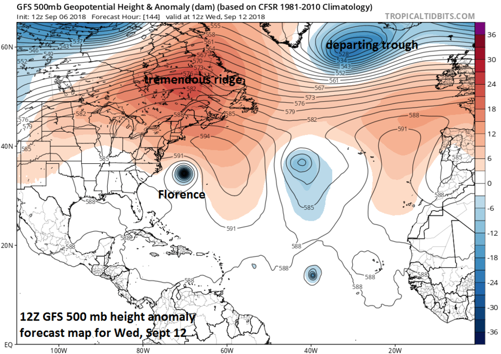 "12Z GFS 500 mb height anomaly forecast map for Wednesday, September 12th, with a tremendous ridge of high pressure over SE Canada/NW Atlantic as Florence ""slips"" underneath; courtesy NOAA/EMC, tropicaltidbits.com"