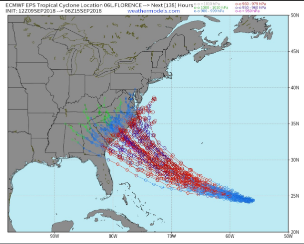 Storm tracks of the individual ensemble members of the (Sunday) 12Z Euro; courtesy weathermodels.com, ECMWF