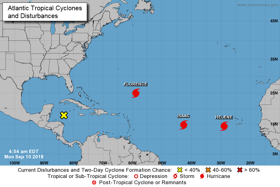Latest positions of Florence, Isaac and Helene in the very active Atlantic Basin; courtesy NOAA/NHC