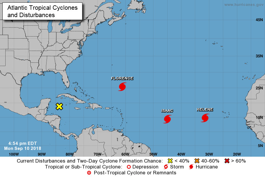 Latest positioning of the multiple players on the tropical scene in the Atlantic Basin with an important new player in the NW Caribbean Sea. Courtesy NOAA/NHC