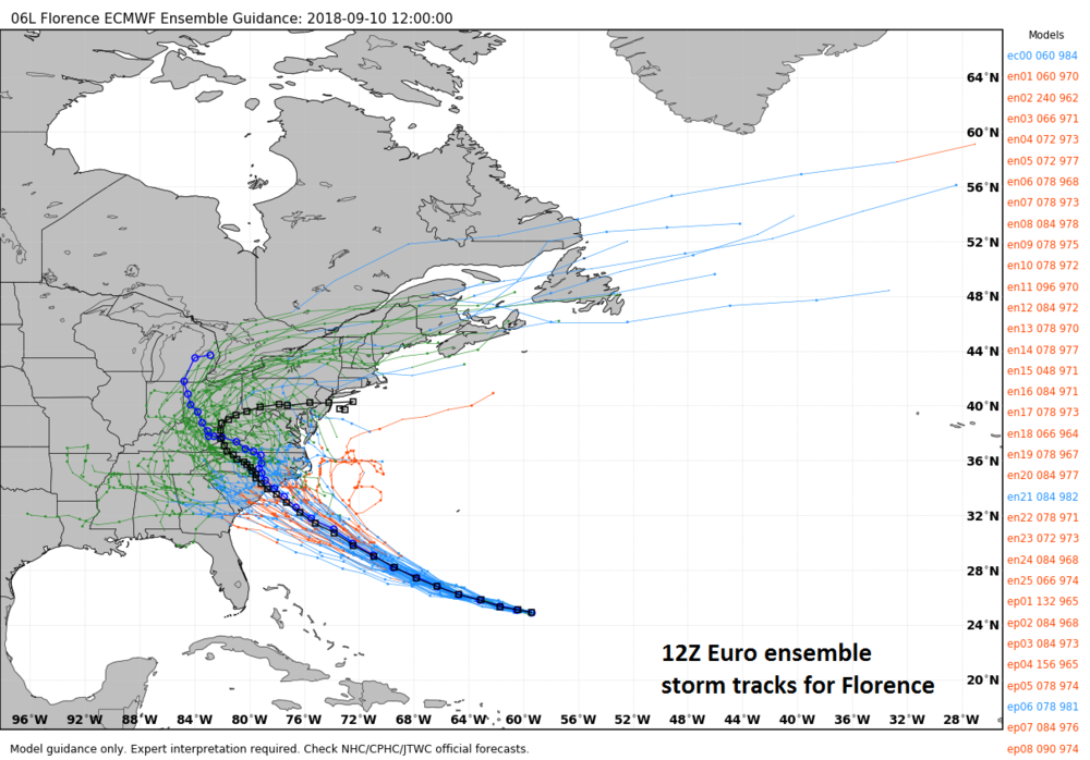 "12Z Euro model ""spread"" of storm tracks for Hurricane Florence; courtesy weathermodels.com, ECMWF"