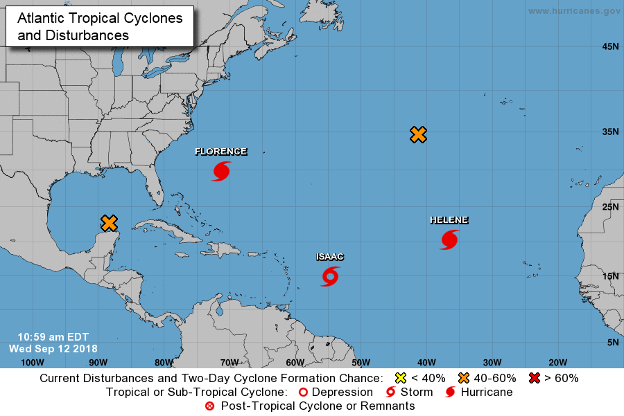 The 11 AM positioning of Florence and other Atlantic Basin tropical systems; courtesy NOAA/NHC