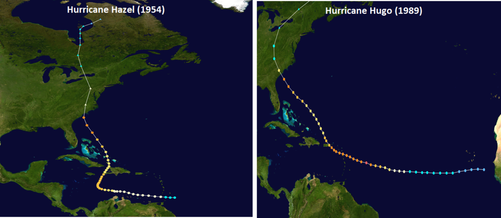 Track of Hurricane Hazel (left) and Hurricane Hugo (right); courtesy NOAA, wikipedia