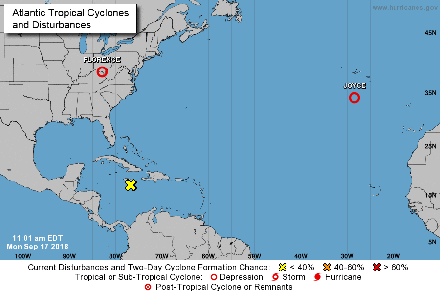 A relatively quiet look now in the Atlantic Basin; courtesy NOAA/NHC